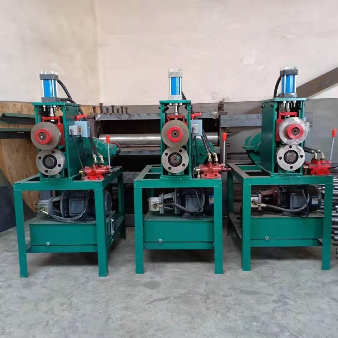廢舊油桶切割機 鐵皮油桶切蓋機 廢油桶切身壓平一體機龍雨機械實地廠家供應